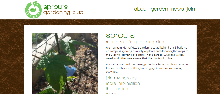Screenshot of MV Sprouts home page